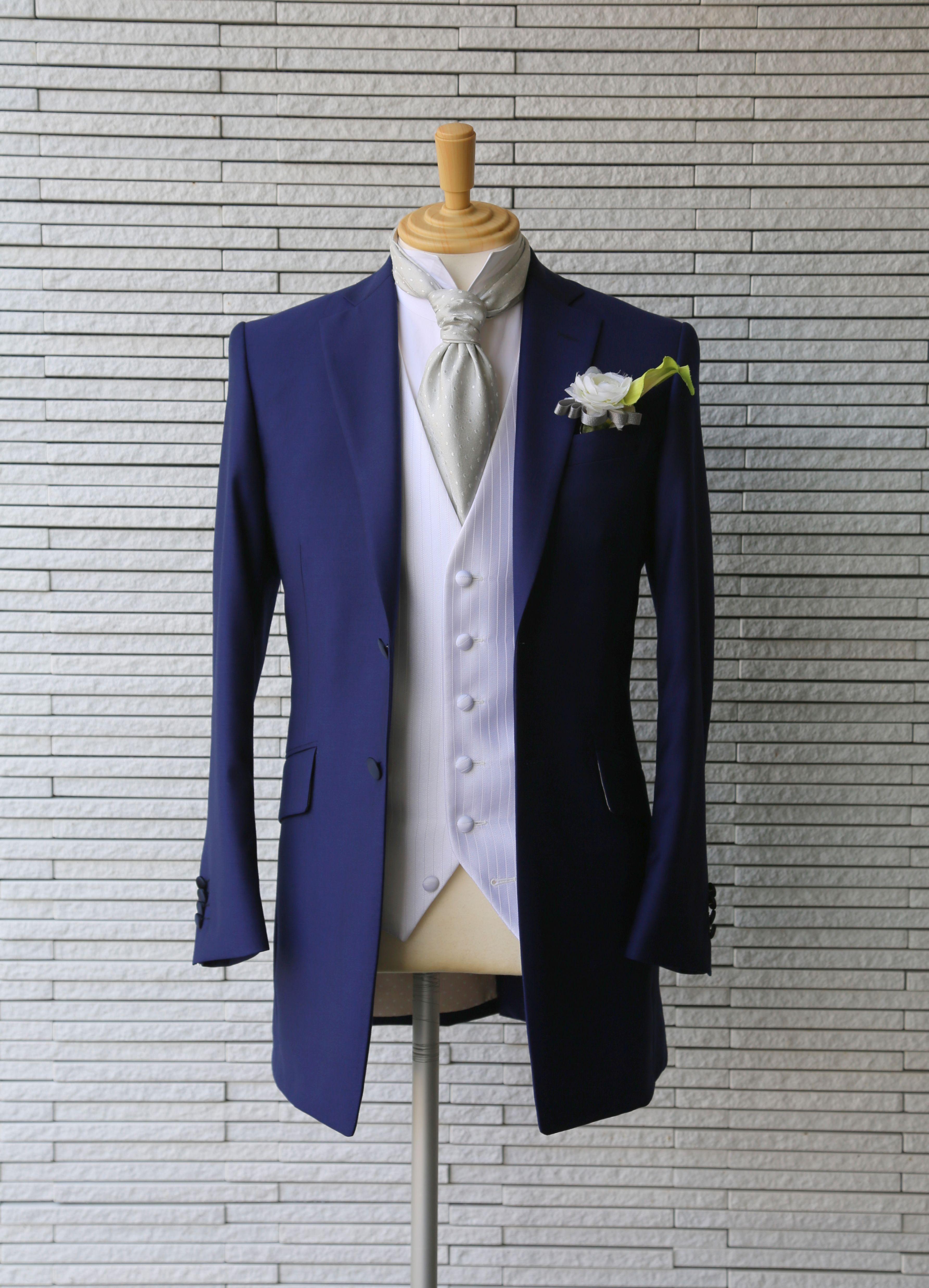 ブルーの新郎衣装
