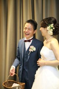 ブルーの結婚式タキシード